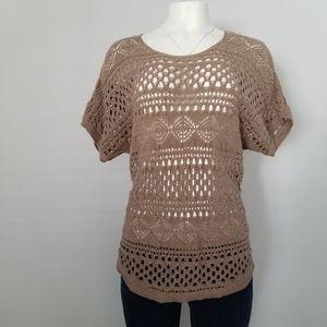 🕶️ Chico's crochet top tan/brown size 2